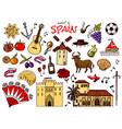 spanish traditional symbols and objects set of vector image vector image