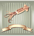 squid realistic background and copper ribbon vector image vector image