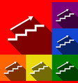 stair with arrow set of icons with flat vector image vector image