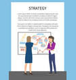 strategy concept poster with two female business vector image