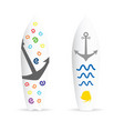 surfboard with anchor on it vector image vector image