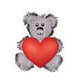 teddy bear toy with big red heart in hands i love vector image vector image