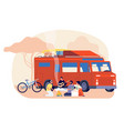 travel on car friends journey nature stay young vector image vector image