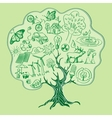 Tree formed by Ecology Icons hand drawn style vector image