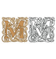vintage initial letter m with baroque decoration vector image vector image