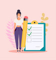 woman with pencil marked checklist on a clipboard vector image