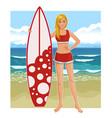 young beautiful woman in bikini with surfboard vector image vector image