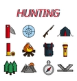 Hunting flat icons set vector image