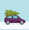 a car delivering a christma vector image vector image