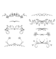 black floral dividers - set vector image vector image