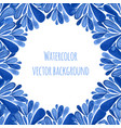 blue floral banner frame in russian gzhel style vector image
