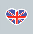 british heart cute sticker vector image vector image