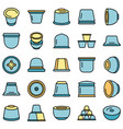 capsule coffee icons set flat vector image vector image