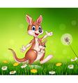 Cartoon funny kangaroo carrying a cute Joey vector image vector image