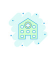 cartoon hospital building icon in comic style vector image