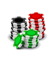casino chips isolated on white vector image vector image