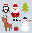 christmas set - santa claus deer penguin vector image vector image
