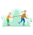couple old man and woman skating in spring park vector image vector image
