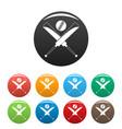 cricket bats icons set color vector image