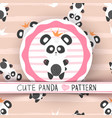 cute princess panda - seamless pattern vector image