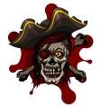 Danger pirate skull in red bandanna and crossbones vector image