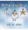 Eid-ul-adha mubarak greeting card with sheep moon vector image vector image