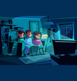 family watching night tv vector image