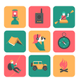 Flat icons of travel and adventure vector image vector image