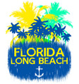 florida beach typography tee graphic design vector image vector image