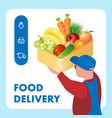 fresh food delivery service web banner template vector image vector image