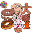 funny candy cartoon characters group vector image