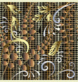 gold ornamental floral 3d seamless pattern grid vector image