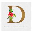 golden letter d watercolor floral background vector image