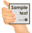 Hand holding an empty paper vector image