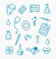healthcare line style medical doodle set vector image