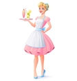 housewife with apron holding tray with vector image vector image