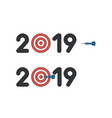 icon concept 2019 with bulls eye and dart in vector image vector image