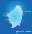 island of naxos in greece map in colorful vector image vector image