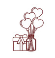 jar with hearts balloons and gift box icons vector image vector image