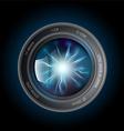 lightning discharges inside the camera lens vector image vector image