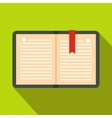 Open notebook with bookmark icon flat style vector image