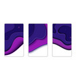 paper cut design set for posters in purple vector image vector image
