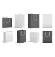 paper shopping bags black white blank cardboard vector image