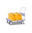 platform truck with box on white background vector image vector image