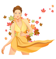 pretty autumn girl vector image vector image