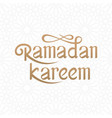 ramadan kareem handwritten lettering with islamic vector image