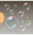 Realistic soap Transparent bubbles with colored vector image vector image