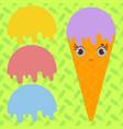 set ice cream balls of yellow red purple blue vector image vector image