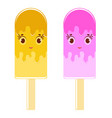 set of flat colored isolated cartoon ice-cream vector image vector image