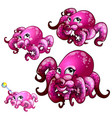 set of pink octopus isolated on white background vector image